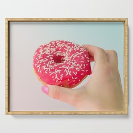 Pink Donut in Hand #3 Serving Tray