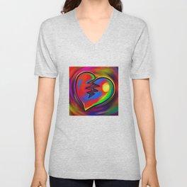Broken Heart Vibrant Painting Unisex V-Neck