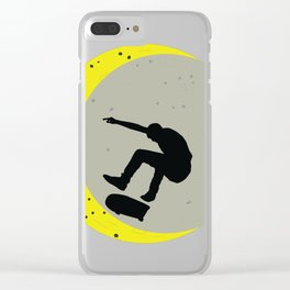 Skateboard Kick Flip OnThe Moon Silhouet Skateboarder Clear iPhone Case