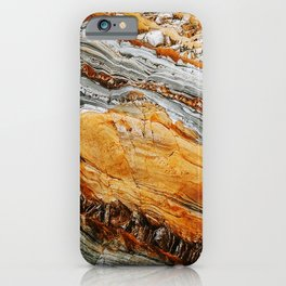 Gray Copper Marbled Petrified Wood iPhone Case