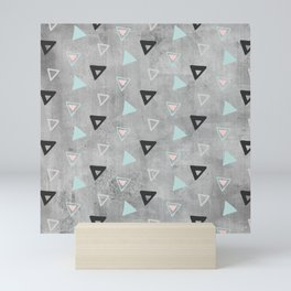 60ies - Black abstract triangle pattern on concrete - Mix&Match with Simplicty of life Mini Art Print