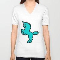 punk rock V-neck T-shirts featuring Punk rock unicorn by junaputra