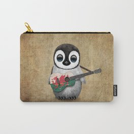Baby Penguin Playing Welsh Flag Guitar Carry-All Pouch