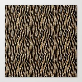 Black & Gold Glitter Animal Print Canvas Print
