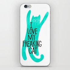 i love my freaking cat - mint iPhone & iPod Skin