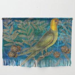 Carolina Parakeet with Cypress, Antique Natural History and Botanical Wall Hanging