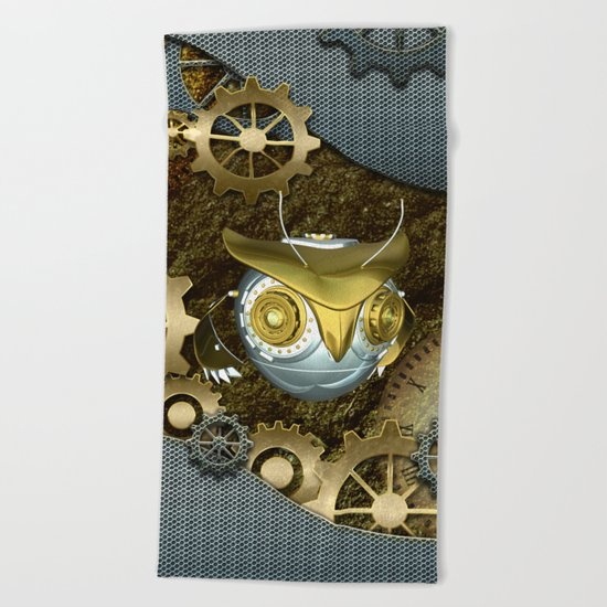 Steampunk, awesome owl Beach Towel