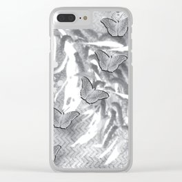 Butterflies in a gray abstract landscape Clear iPhone Case