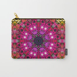 Garden mosaic mandala - radiant red and pink Kaleidoscope with glimmers of gold Carry-All Pouch