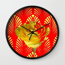 ABSTRACT YELLOW-RED ART DECO ROSE ART Wall Clock