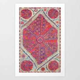Large Medallion Suzani  Antique Uzbekistan Embroidery Art Print