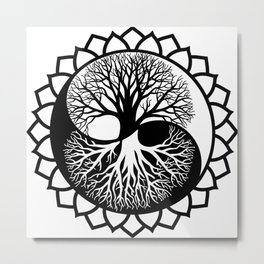 The World Tree, Tree Of Life In Yin Yang Graphic Style Metal Print
