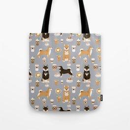 Shiba Inu coffee dog breed pet friendly pet portrait coffees pattern dogs Tote Bag
