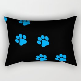 Cute Simple Animal Art Blue Cat Dog Paw Prints On Black Rectangular Pillow