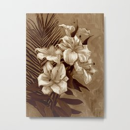 White Lilies and Palm Leaf in brownscale Metal Print