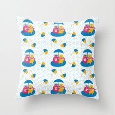 I'm glad I brought a warm cup of coffee with me - Fabric pattern Throw Pillow