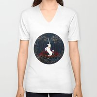 unicorn V-neck T-shirts featuring Unicorn by Danse de Lune