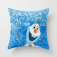 olaf Throw Pillows featuring OLAF by DisPrints