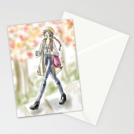 Fall Fashion Coffee Girl Stationery Cards