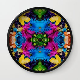Hugging Colored Flowers (Mandala #121c) Wall Clock