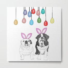 Happy Easter - Bulldog Bunnies Metal Print
