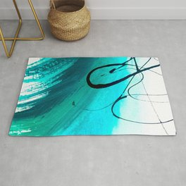 Moving On: an abstract mixed media piece in blue, greens, black and white by Alyssa Hamilton Art Rug