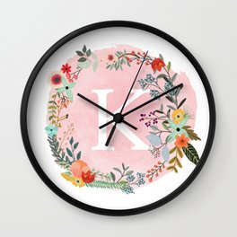 Flower Wreath with Personalized Monogram Initial Letter K on Pink Watercolor Paper Texture Artwork Wall Clock