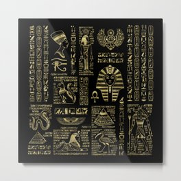 Egyptian hieroglyphs and deities gold on black Metal Print