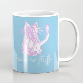 Down to Fluff Cute Cat Quote Blue and Pink Abstract Print Coffee Mug