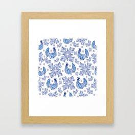 Gzhel background Framed Art Print
