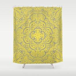 Illuminating Yellow & Ultimate Gray Pattern Shower Curtain