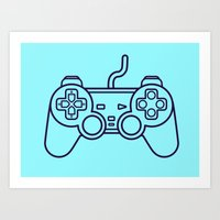 playstation Art Prints featuring Playstation 1 Controller - Retro Style! by Rikard Röhr