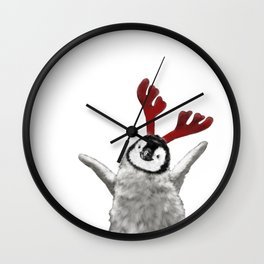 Christmas Baby Penguin Reindeer Wall Clock