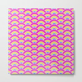 Pink, Yellow, and Blue Scallop Metal Print