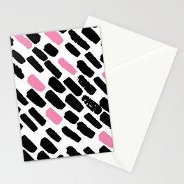 Oblique dots black and white pink Stationery Cards