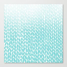 Hand Knitted Ombre Teal Canvas Print