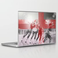 roller derby Laptop & iPad Skins featuring Punchtuation Roller Derby by Vin Zzep
