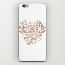 Rose Gold Glam Confetti Heart iPhone Skin