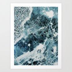 Blue Sea Marble Art Print