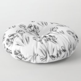 Black and white Amaryllis Floor Pillow