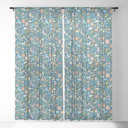 Dinosaurs + Unicorns in Blue + Coral Sheer Curtain