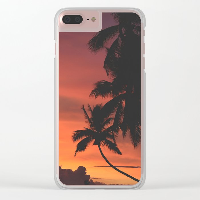 Hawaii Palm Trees Sunset Clear iPhone Case