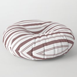 Pantone Red Pear and White Stripes, Wide and Narrow Horizontal Line Pattern Floor Pillow