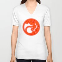 magic the gathering V-neck T-shirts featuring Magic the Gathering, Neon Red Mana by Thorn Blackstar