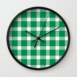Plaid Emerald Green Wall Clock