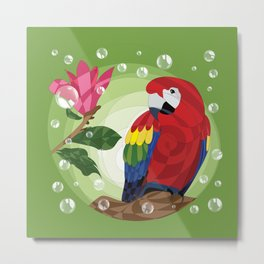 Scarlet macaw and magnolia Metal Print