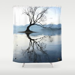 The Wanaka Tree, South Island, New Zealand Shower Curtain