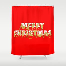 Merry Christmas Ponies Shower Curtain