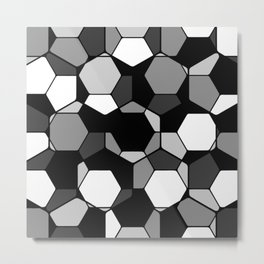 Retro Rocks - 50 Shades Of Grey - Abstract, black and white, hexagonal pattern Metal Print