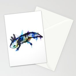 Rainbow Splash Axolotl Watercolour Stationery Cards